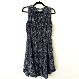 REBECCA TAYLOR Black & Cream Patterned Silk Dress